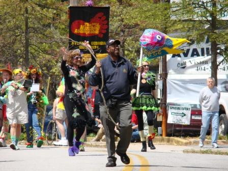 Greg White leading the Puppet Parade