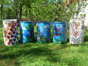 Rain barrels painted by Clairemont Elementary School Children