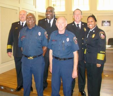 Back Row: Asst. Chief Hatcher, Asst. Chief Thomas, Retiring Chief Malone, Chief Dixon; Front Row: Roosevelt Strong, Larry Pettit