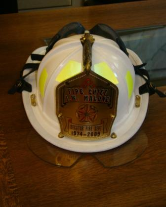 Chief Malone's helmet was adorned with a special badge.
