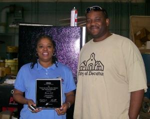 Pictured (left to right):  Cynthia Hardnett, Codes Enforcement Officer; Kelvin Davis, Sanitation Services Supervisor