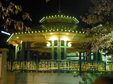 lit up bandstand